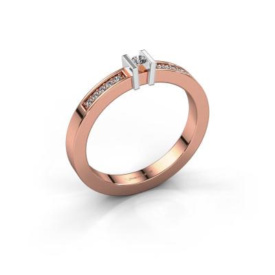 Aanzoeksring Maryam 585 rosé goud diamant 0.097 crt
