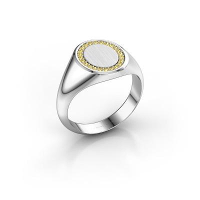 Men's ring Floris Oval 2 585 white gold yellow sapphire 1.2 mm