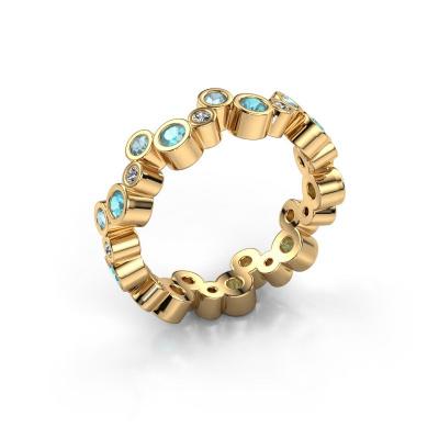 Ring Tessa 585 goud blauw topaas 2.5 mm