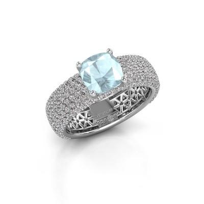 Engagement ring Darcy 585 white gold aquamarine 7 mm