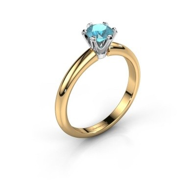 Foto van Verlovingsring Tiffy 1 585 goud blauw topaas 5 mm