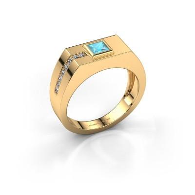 Foto van Heren ring Robertus 1 585 goud blauw topaas 4 mm