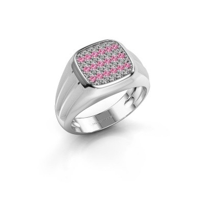 Pinky ring Robbert 925 silver pink sapphire 1.4 mm