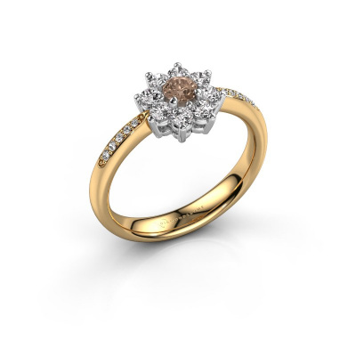 Verlobungsring Camille 2 585 Gold Braun Diamant 0.15 crt