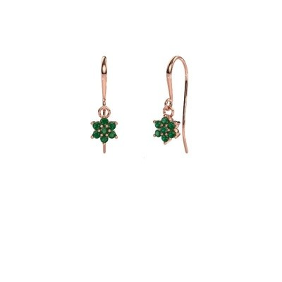 Picture of Drop earrings Dahlia 1 375 rose gold emerald 1.7 mm