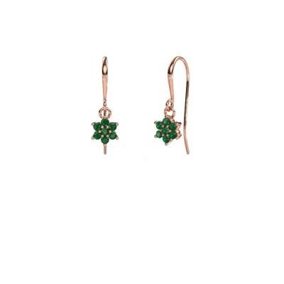 Drop earrings Dahlia 1 375 rose gold emerald 1.7 mm