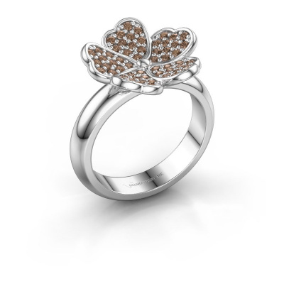 Ring Daphne 950 platinum brown diamond 0.450 crt