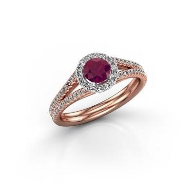 Verlovingsring Verla 2 585 rosé goud rhodoliet 4.7 mm