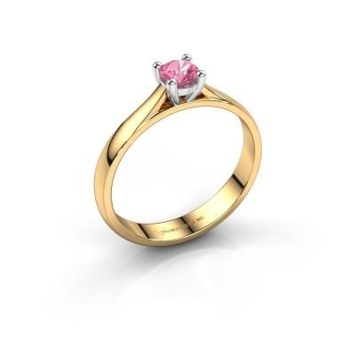Foto van Verlovingsring Sam 585 goud roze saffier 4.2 mm