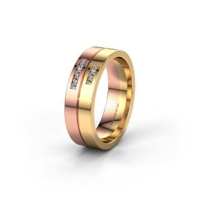 Wedding ring WH0207L16AP 585 rose gold lab grown diamond ±0.24x0.07 in