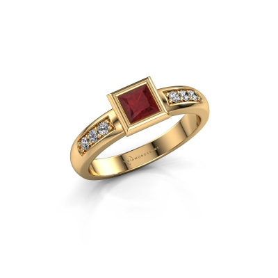 Stacking ring Lieke Square 585 gold ruby 4 mm