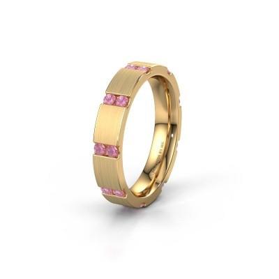 Huwelijksring WH2132L14BM 375 goud roze saffier ±4x2.2 mm
