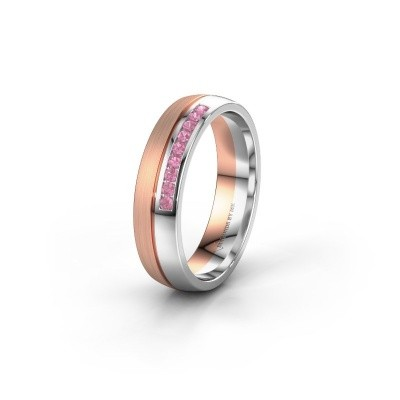Wedding ring WH0209L25APM 585 rose gold pink sapphire ±0.20x0.07 in