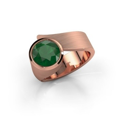 Ring Nakia 375 rosé goud smaragd 8 mm