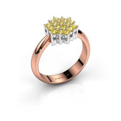 Ring Bente 585 rosé goud gele saffier 1.9 mm