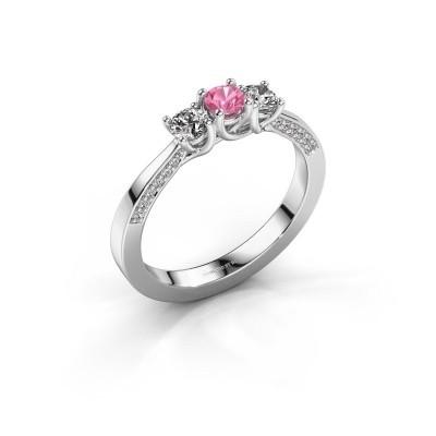 Foto van Verlovingsring Rivka 585 witgoud roze saffier 3.4 mm