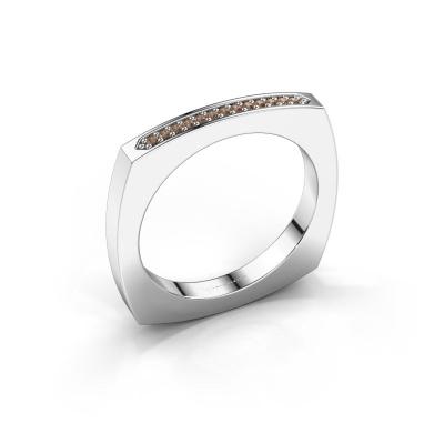 Bague superposable Ashley 950 platine diamant brun 0.065 crt