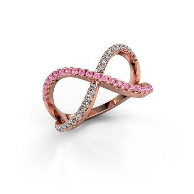Ring Alycia 2 375 rose gold pink sapphire 1.3 mm
