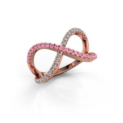 Ring Alycia 2 375 rosé goud roze saffier 1.3 mm
