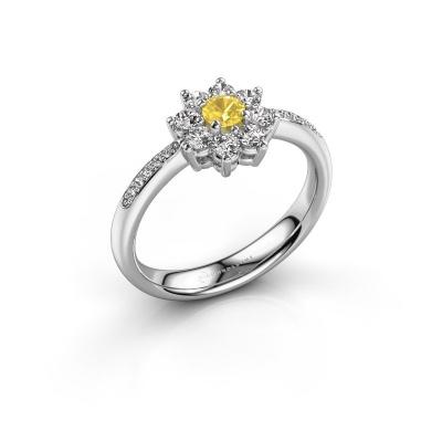 Verlobungsring Camille 2 585 Weißgold Gelb Saphir 3.4 mm