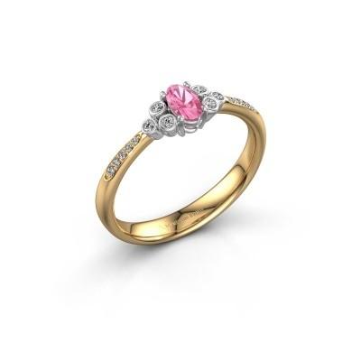 Verlovingsring Lucy 2 585 goud roze saffier 7x5 mm