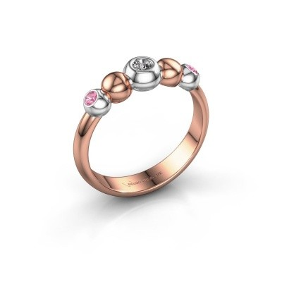 Bague superposable Lily 585 or rose diamant synthétique 0.06 crt