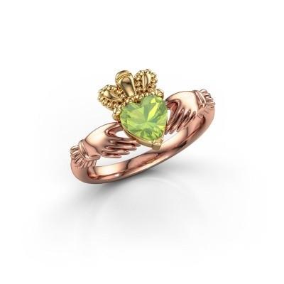 Foto van Ring Claddagh 2 585 rosé goud peridoot 6 mm