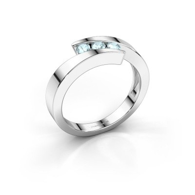 Photo de Bague Gracia 585 or blanc aigue-marine 2.7 mm