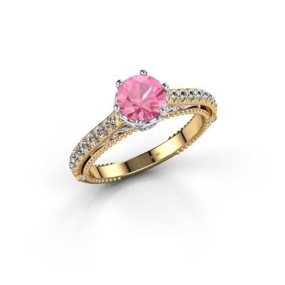 Foto van Verlovingsring Venita 585 goud roze saffier 6.5 mm