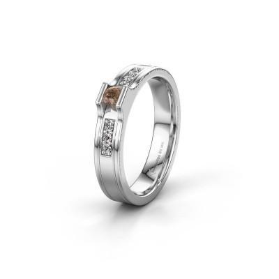 Trouwring WH2110L14A 925 zilver bruine diamant ±4x1.7 mm