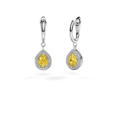 Picture of Drop earrings Ginger 1 925 silver yellow sapphire 7x5 mm