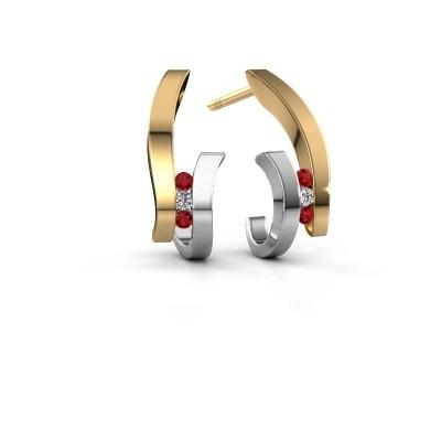 Oorbellen Juliette 585 goud robijn 1.5 mm