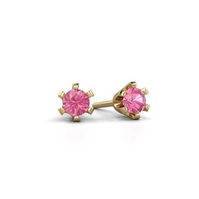 Foto van Oorstekers Shana 375 goud roze saffier 4 mm