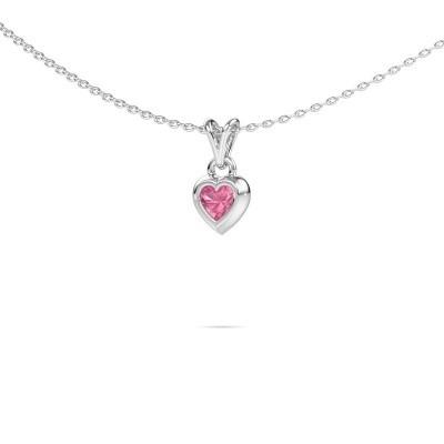Foto van Hanger Charlotte Heart 375 witgoud roze saffier 4 mm