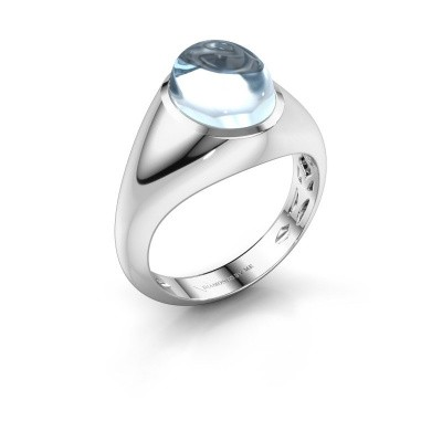 Bague Zaza 585 or blanc aigue-marine 10x8 mm