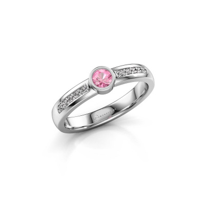 Engagement ring Ise 2 585 white gold pink sapphire 3.7 mm