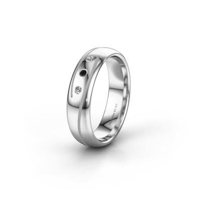 Wedding ring WH0152L25A 585 white gold black diamond ±0.20x0.07 in