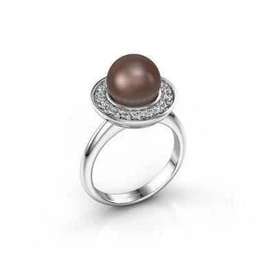 Ring Sarah 585 witgoud bruine parel 9 mm