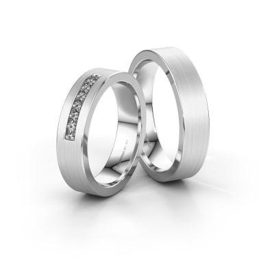 Trouwringen set WH0112LM15BM ±5x2 mm 14 karaat witgoud diamant 0.02 crt