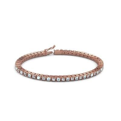 Foto van Tennisarmband Petra 375 rosé goud aquamarijn 3 mm