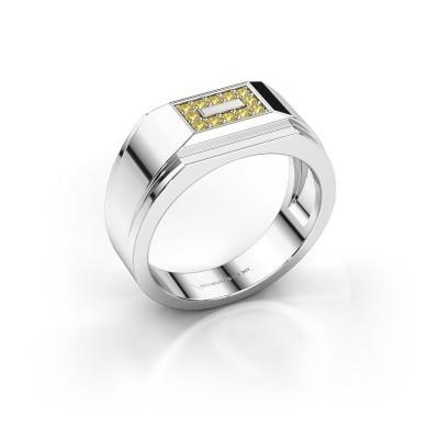 Foto van Heren ring Roan 925 zilver gele saffier 1.5 mm