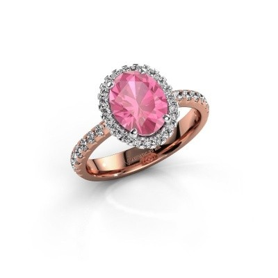 Verlovingsring Lavelle 585 rosé goud roze saffier 9x7 mm