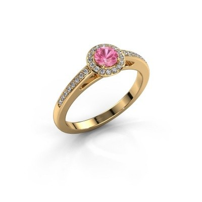 Engagement ring Aaf 375 gold pink sapphire 4.2 mm