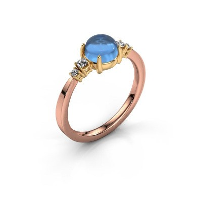 Ring Regine 585 rosé goud blauw topaas 6 mm