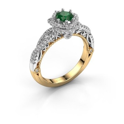 Engagement ring Lysanne 585 gold emerald 5 mm