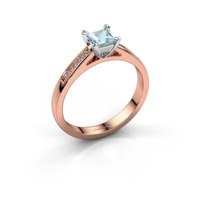 Engagement ring Nynke SQR 585 rose gold aquamarine 4 mm