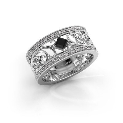 Ring Danae 585 witgoud zwarte diamant 0.614 crt