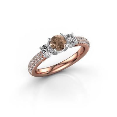 Foto van Verlovingsring Marielle RND 585 rosé goud bruine diamant 1.17 crt