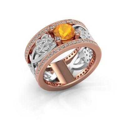 Ring Severine 585 rosé goud citrien 6 mm