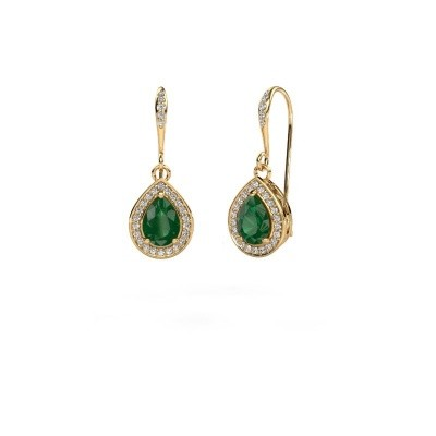 Picture of Drop earrings Beverlee 2 375 gold emerald 7x5 mm